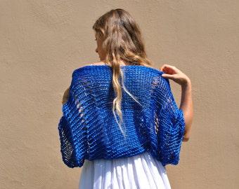 Sale - Women's loose knit shrug, royal blue shrug, blue bolero, handknit cotton shrug, summer cotton sweater, cropped blue sweater