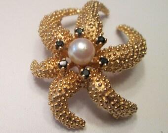 14k yellow pearl and sapphire starfish brooch