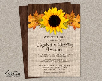 DIY Rustic Fall Vow Renewal Invitation, Printable Fall Sunflower Reaffirmation Invitations, Rustic Country Sunflower Invites, We Still Do