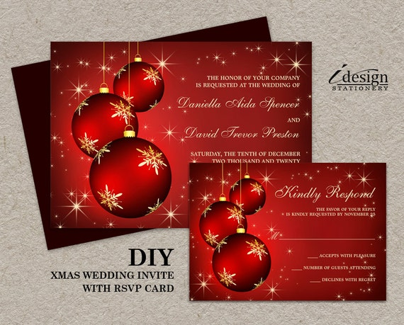 Items similar to Elegant Christmas Wedding Invitations