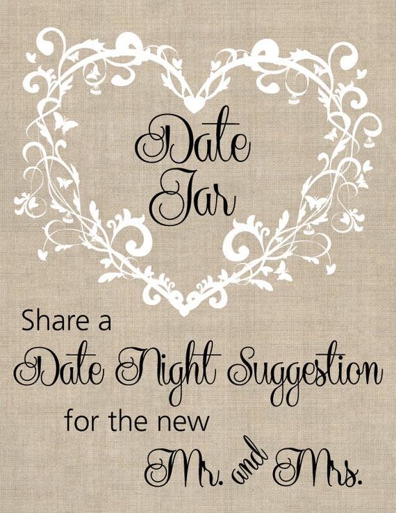 Custom made bridal shower or wedding date jar Sign 8.5 x 11 (digital copy)