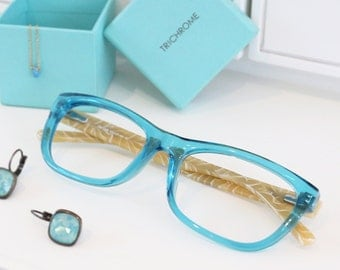 French Style Translucent Turquoise Beige Rectangular Frame