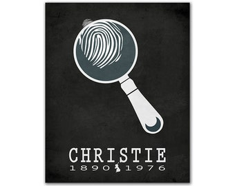 Agatha Christie - Gift For Readers and Book Lovers - Book Art Magnifying Glass Fingerprint Mystery Novel Crime English Author Bookish Decor