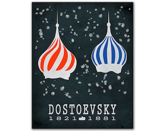 Fyodor Dostoevsky Crime & Punishment - Snow Falling Winter Religion Roof Literary Gift For Writers Reading Room Decor Russian Author