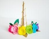 Rainbow Unicorn Flower Crown, Golden Unicorn Horn, Rainbow Flowers Headband, Felt Flower Crown, Colorful Head Wreath, Girls Unicorn Headband