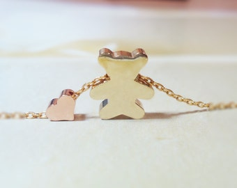 155.Gold plated Cute Teddy Bear and Tiny Pink Gold plated heart with 16K Gold plated chain Necklace