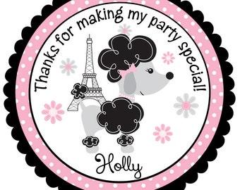 Poodle Birthday Stickers-Paris Birthday Tags-Paris Birthday Stickers