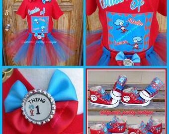 Thing 1, Thing 2 Tutu Set, Dr. suess Tutu, custom Thing Tutu Set, Thing 1, Thing 2 Birthday Outfit, Thing 1 converse