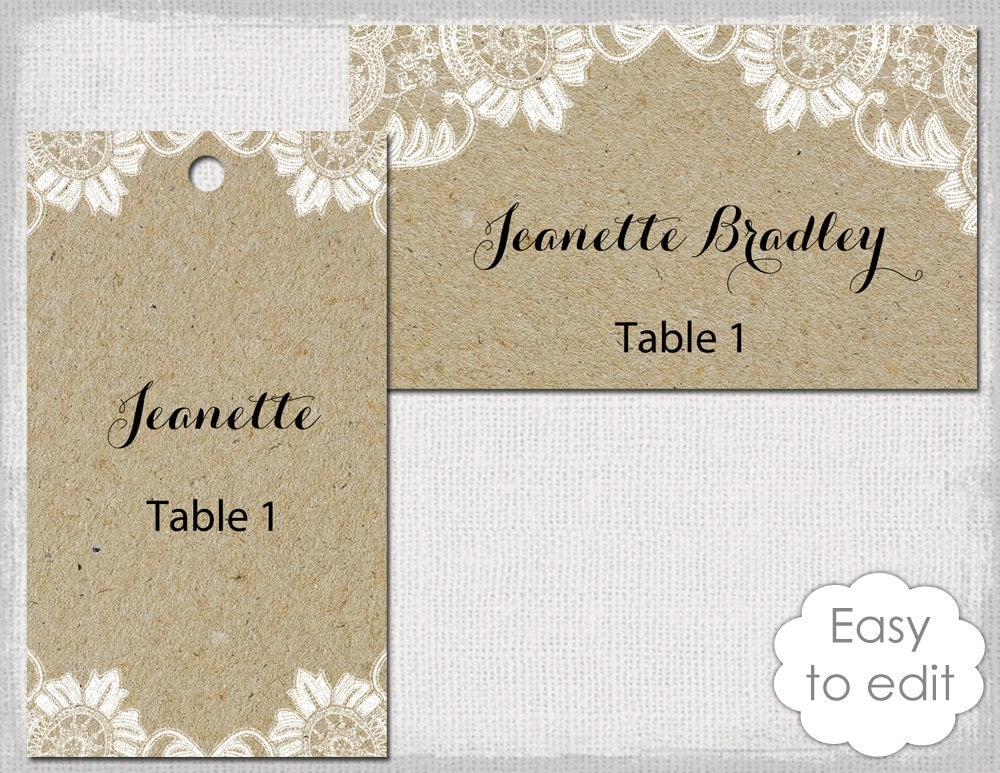 rustic name tags template antique lace kraft diy