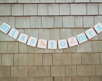 Beach Bridal Shower Decor, Miss To Mrs Banner, Teal Bridal Shower, Starfish Banner, Beach Wedding, Miss to Mrs Garland, Beach Bridal Sign