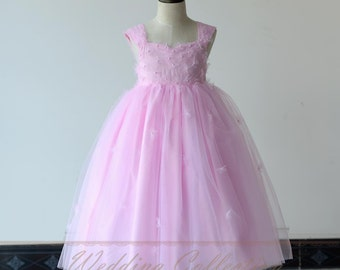 Light Pink Flower Girl Dress With Handmade Flowers and Pearls