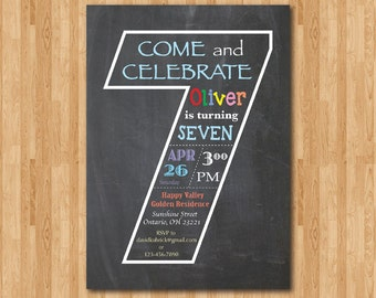 Chalkboard 7th Birthday Invitation. Seventh Birthday Invite. Baby Boy or Girl Birthday Party. Turning Seven. Printable Digital DIY
