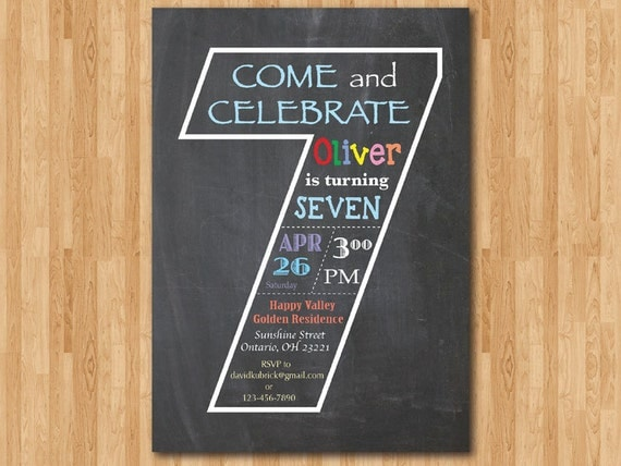 Chalkboard 7th Birthday Invitation Seventh Invite Templates
