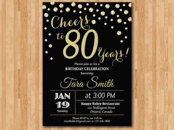 Exceptionnel ottantesimo compleanno invito. Oro Glitter. Applausi per la FO82
