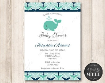 PRINTABLE Blue Whale Baby Shower Invitation, Whale Tail, Navy Blue, Ocean, Beach, Nautical Printable Invites, 5x7 JPG