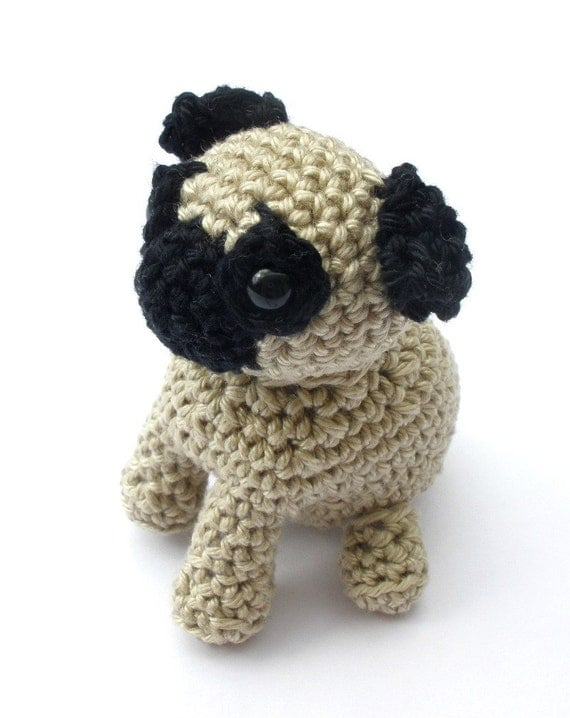 Pug Stuffed Animal, Crochet Pug Dog, Amigurumi Pug