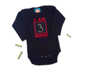 Baby Boy Monthly Chalkboard Bodysuit - Black with Red