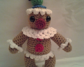 GRAHAM the Gingerbread Man = Crochet Amigurumi - Handmade Crochet Amigurumi