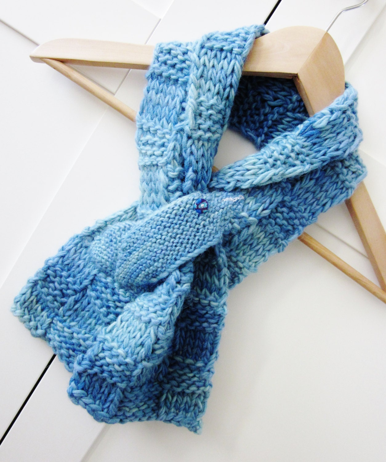 Ladies Alpaca blue knit scarf Knitted Collar Knitted Blue
