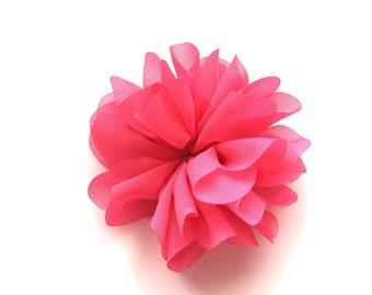 "SHOP CLOSING 10 Hot Pink 3.5"" Chiffon Blossoms, wholesale, headbands, crafts, fabric flowers, barefoot sandals, wedding, embellishment"