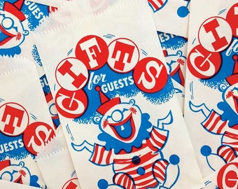 Vintage Clown Popcorn Bags, SALE PRICED Little Juggler Treat Bags (15), Vintage Party Supply, AAA Condition