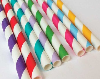 Happy Birthday Striped Paper Straws and Flags