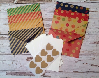 Mini cards, tiny cards and envelope set, Mini stationery,Coloured Kraft paper envelopes, mini stationary,