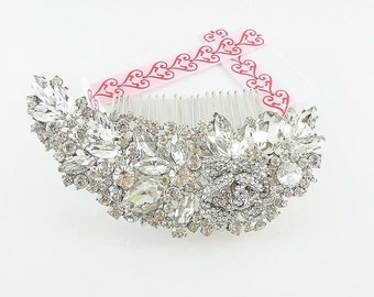 Bridal Comb, Bridal Swarovski Comb, Bridal Hair Comb, Rhinestone Comb, Wedding Comb, Flower Hair Comb, Hair Accessories, Crystal Comb HC0005