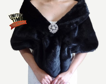 Faux Fur Stole, Black Bridal Shrug, Faux Fur Wrap, Shrug, Bridal Fur, Fur Shawl, Wedding Fur Shrug, Bridal Wrap, Bridal Shawl, FS108-BLKs