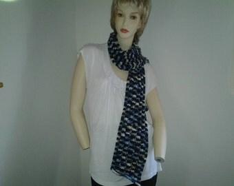 Blue variegated drop stitch scarf