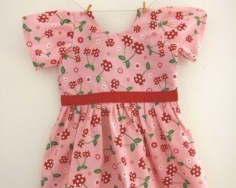Cherry print dress, cherry print, cherry gift, fruity dress, short sleeved dress, baby dress, toddler dress, girls dress, wedding outfit