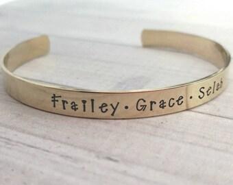 Personalized brass cuff bracelet, hand stamped cuff, name bracelet