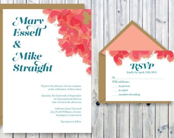 Customizable Poppy Wedding Invitation and RSVP Card PDF.  This is easy to print at home or have me print it for you!