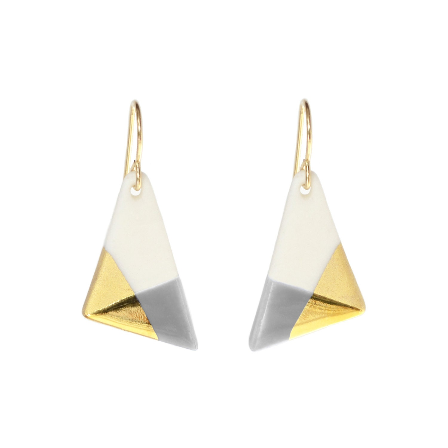 triangle dangle earrings gray and gold dipped earrings. Black Bedroom Furniture Sets. Home Design Ideas
