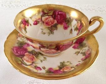 Golden Rose Royal Chelsea China Tea Cup & Saucer