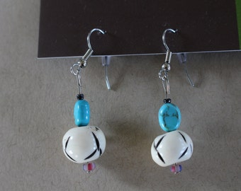 Turquoise and wood beaded earrings