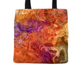 Abstract art tote bag, yellow, and orange tote 18x18, 13x13, 9x9, shopping bag, market bag, book bag, lunch bag, grocery tote, Mediterranean