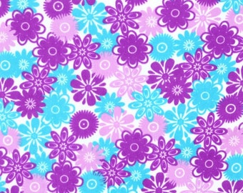 New !!On Sale !!Flowers Fleece Fabric by the yard...