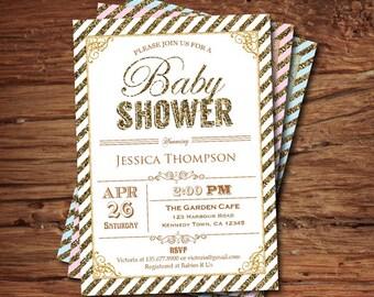 Gold White baby shower invitation. Glitter baby shower, gender neutral, boy or girl. printable digital invite B085