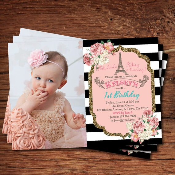 Elegant 1st first birthday invitation Pink and gold black – Pink 1st Birthday Invitations