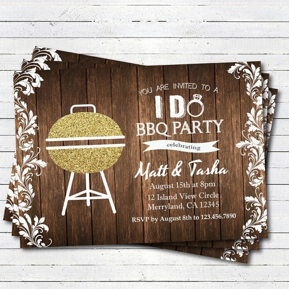 I Do BBQ Gold Glitter Invitation