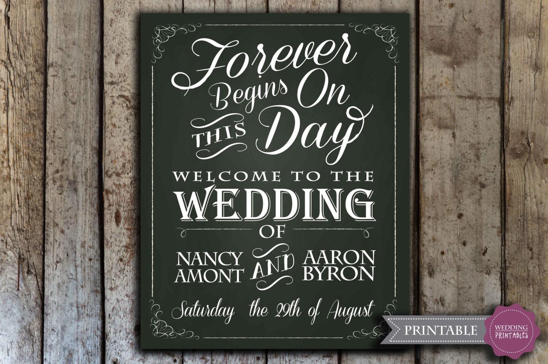 Custom wedding chalkboard sign printable wedding chalkboard for Printable chalkboard signs