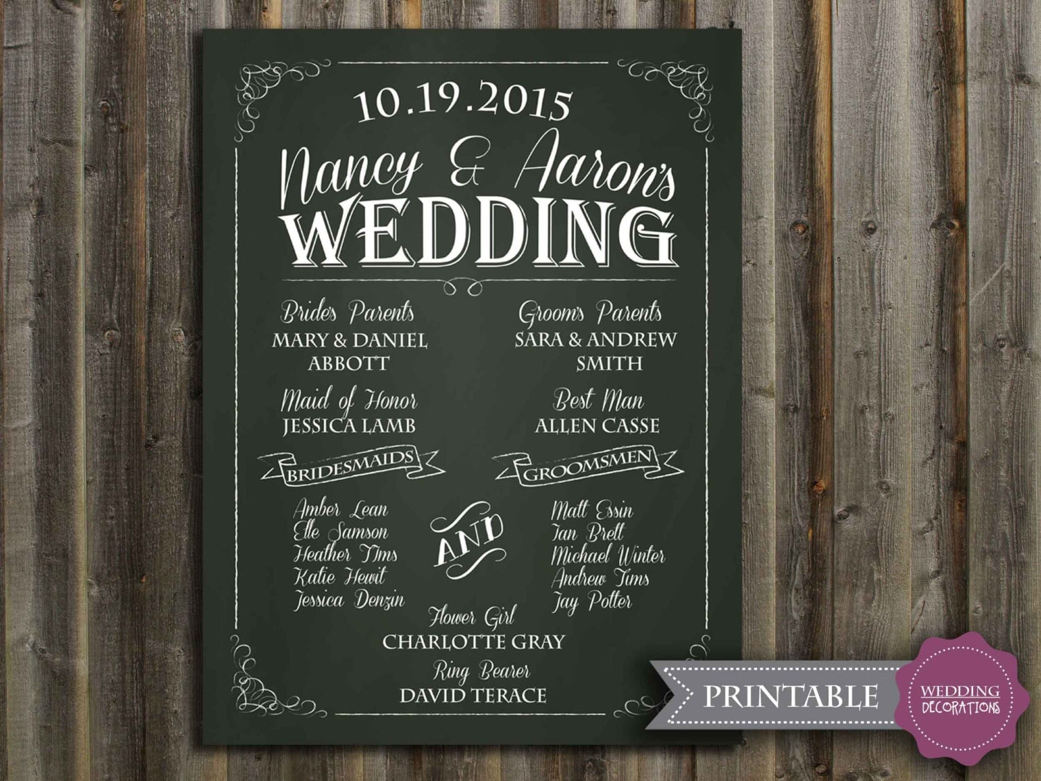 Chalkboard Wedding Program Sign Printable Wedding Program