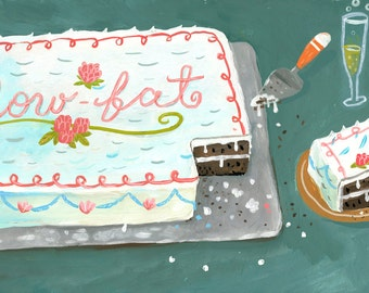 Low-fat cake. A limited edition giclee print of an original illustration.