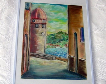 Drawing with pastels South of France Drawing of catalan side Painting od see side
