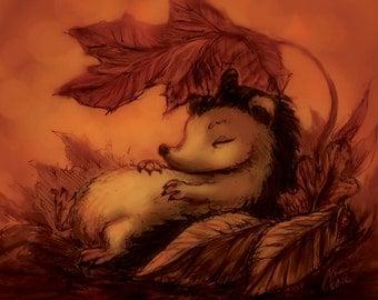 Hedgehog Sleeping Under Leaves