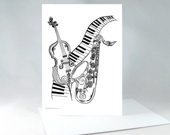 Music Lover Card, Musical Instruments Drawing, Keyboard Drawing, Line Drawing, Black and White Art, Music Card, Saxophone Drawing 1033