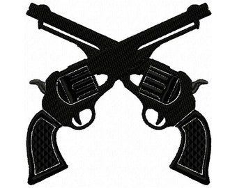 Gun Embroidery Design, six shooter, cowboy gun, western gun, applique' and  filled, multiple sizes,   #410