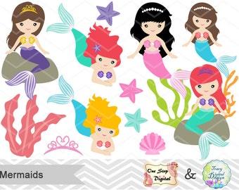 Instant Download Mermaid Digital Clip Art, Digital Mermaid Clipart, Little Mermaid Princess Clip Art, Mermaid Princess Clipart  00188
