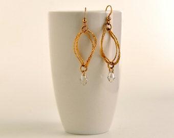 Earrings Dangling earrings Gold filled earrings with drop Swarovski Earrings with wavy elements